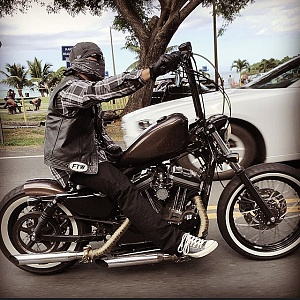 Spring solo seat on soft-tail sportster