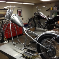 Chop Cult - Current project bike  48 wishbone stretched in